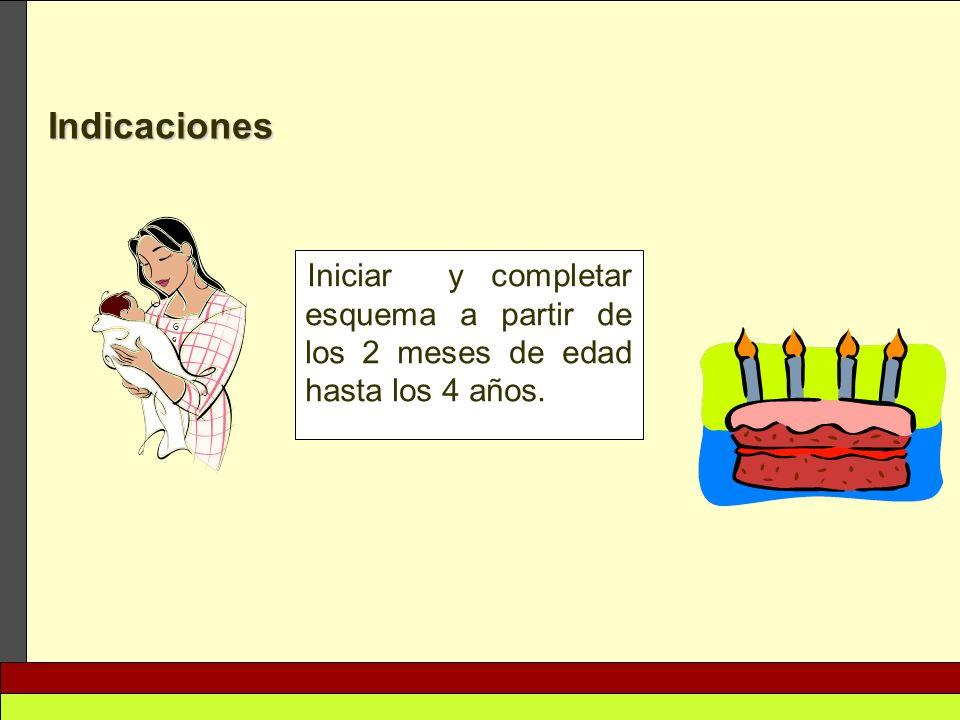 Iniciar y completar esquema a partir de los 2 meses de edad hasta los 4 años. Indicaciones