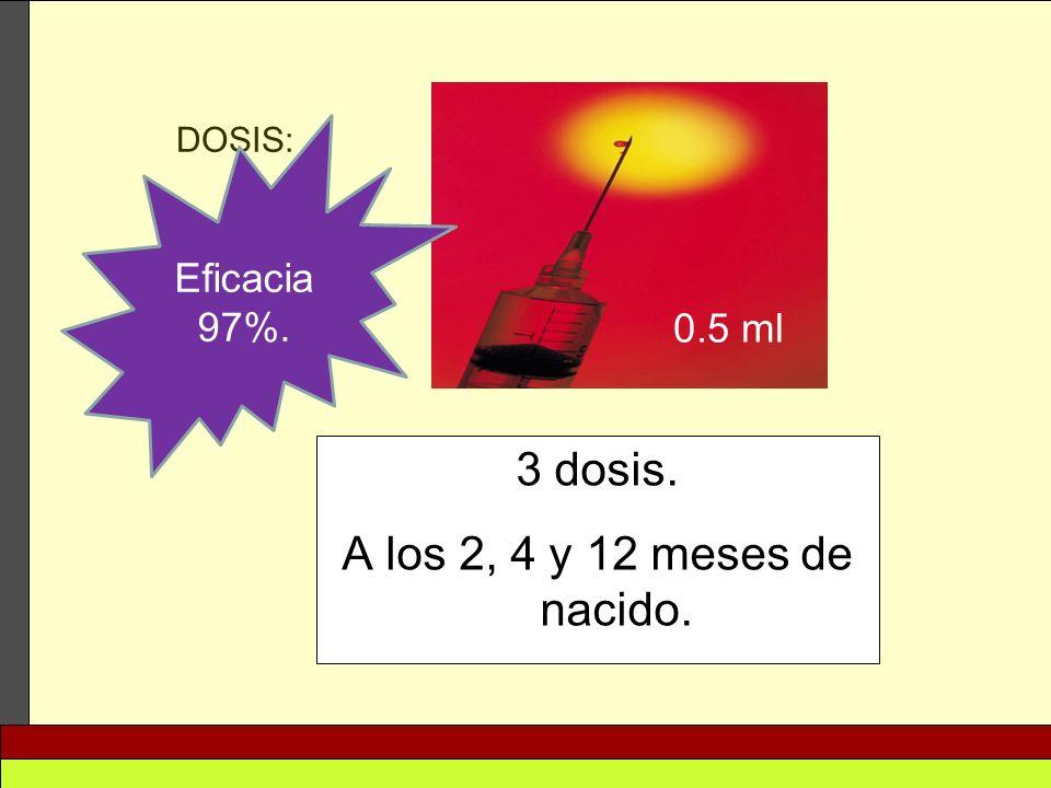 3 dosis. A los 2, 4 y 12 meses de nacido. DOSIS: 0.5 ml Eficacia 97%.