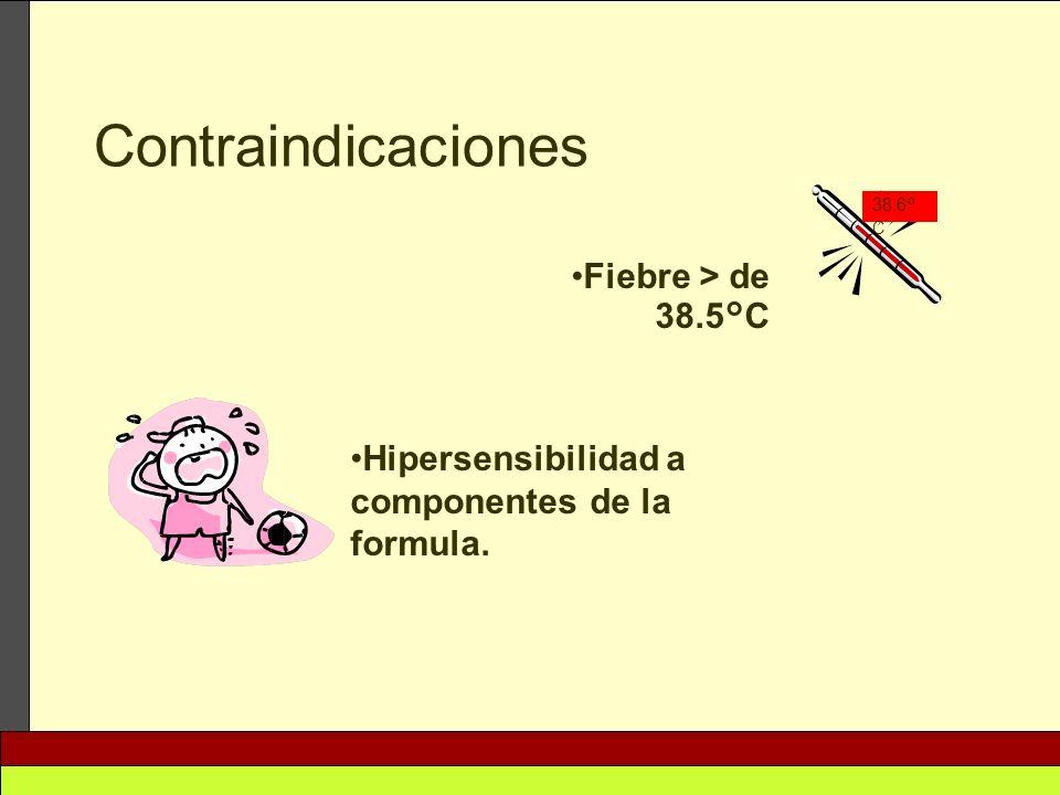 Fiebre > de 38.5°C Contraindicaciones 38.6° C Hipersensibilidad a componentes de la formula.