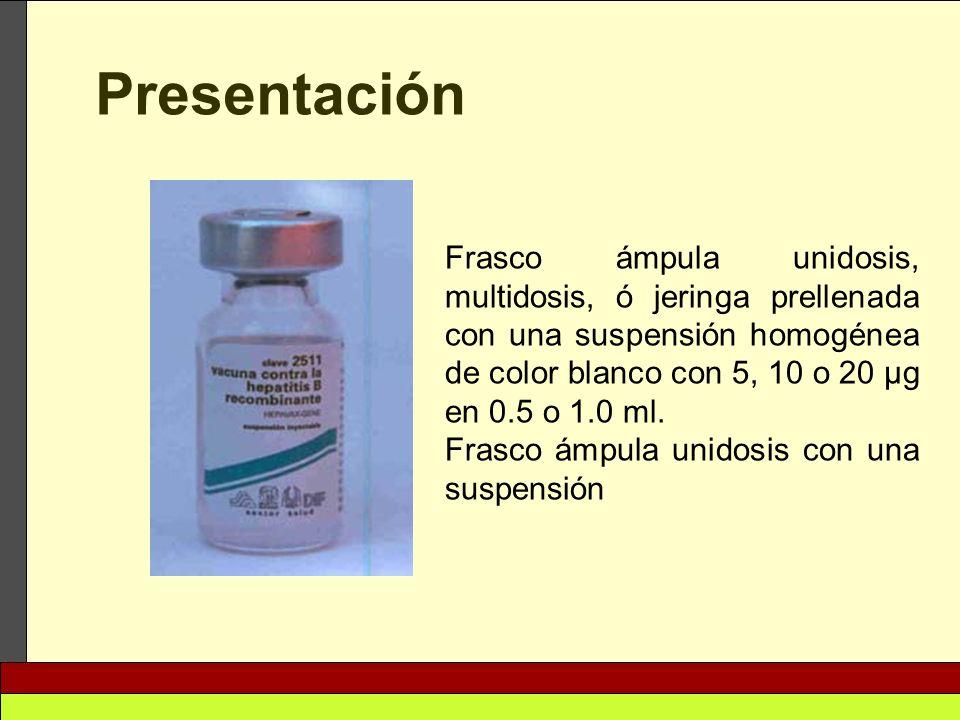 Frasco ámpula unidosis, multidosis, ó jeringa prellenada con una suspensión homogénea de color blanco con 5, 10 o 20 μg en 0.5 o 1.0 ml. Frasco ámpula
