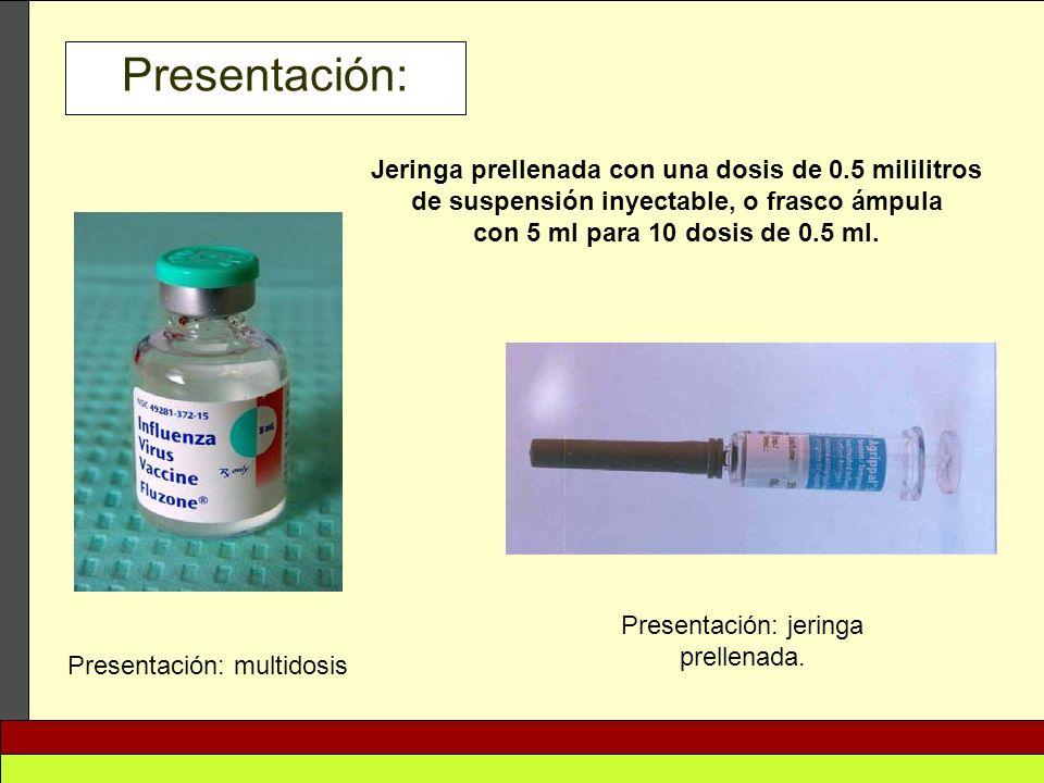 Presentación: Presentación: multidosis Presentación: jeringa prellenada. Jeringa prellenada con una dosis de 0.5 mililitros de suspensión inyectable,