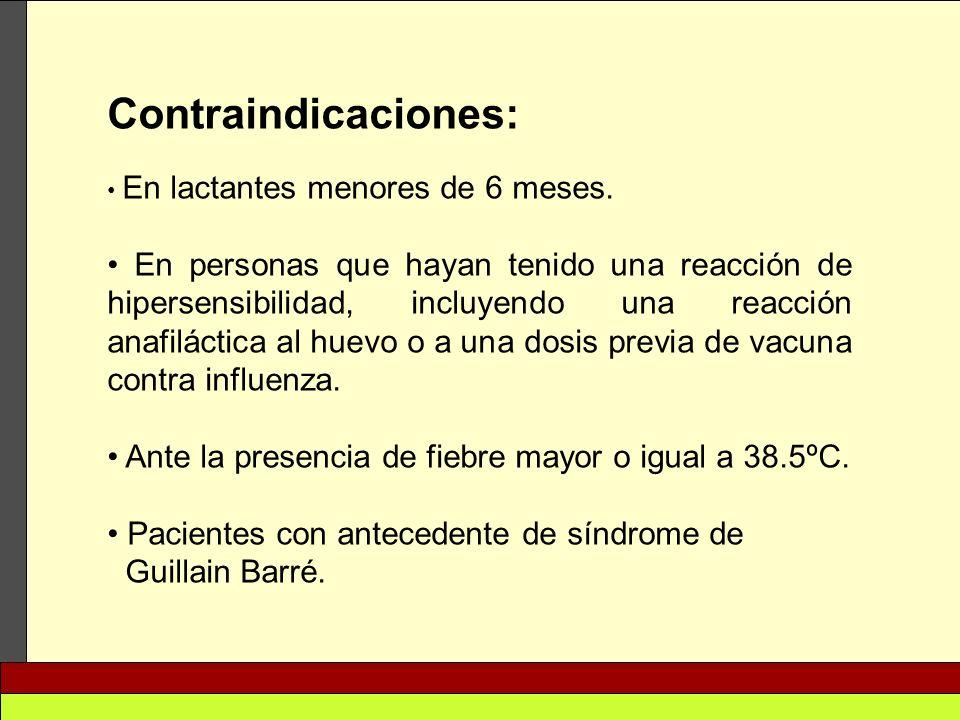 Contraindicaciones: En lactantes menores de 6 meses. En personas que hayan tenido una reacción de hipersensibilidad, incluyendo una reacción anafiláct