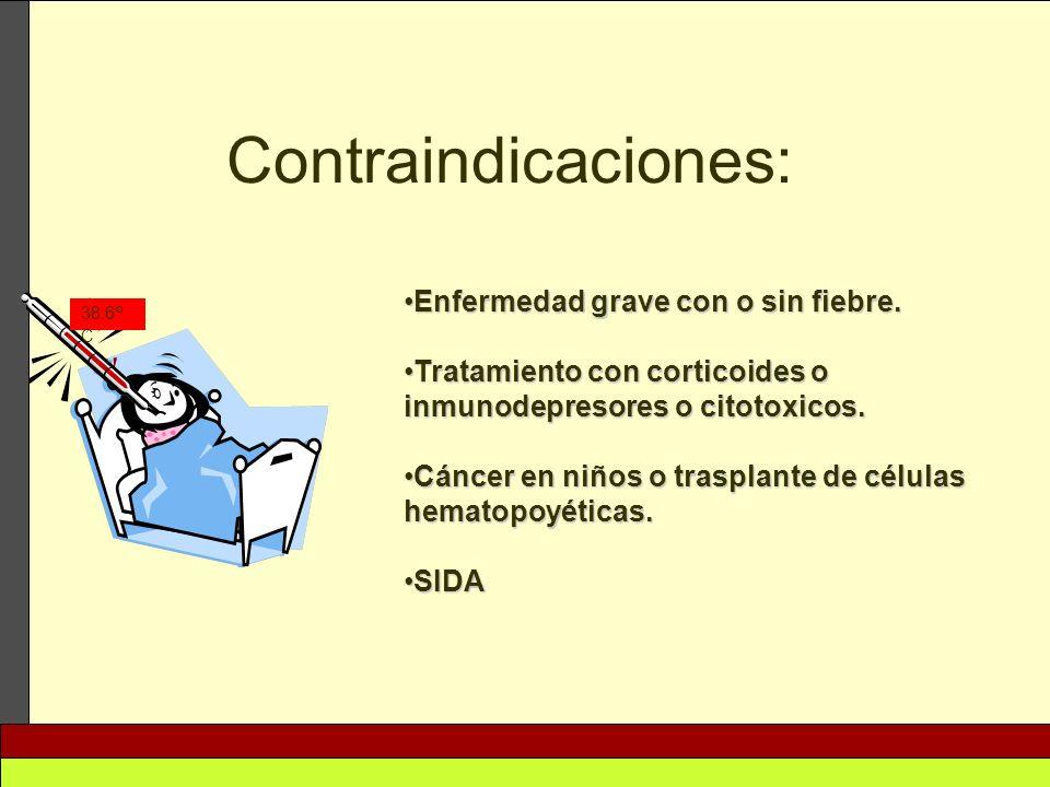 Enfermedad grave con o sin fiebre.Enfermedad grave con o sin fiebre. Tratamiento con corticoides o inmunodepresores o citotoxicos.Tratamiento con cort