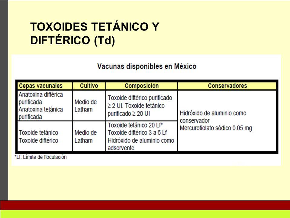 TOXOIDES TETÁNICO Y DIFTÉRICO (Td)