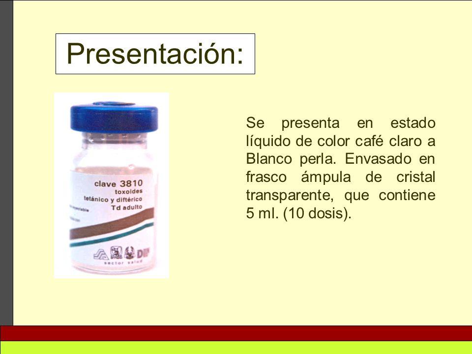 Presentación: Se presenta en estado líquido de color café claro a Blanco perla. Envasado en frasco ámpula de cristal transparente, que contiene 5 ml.