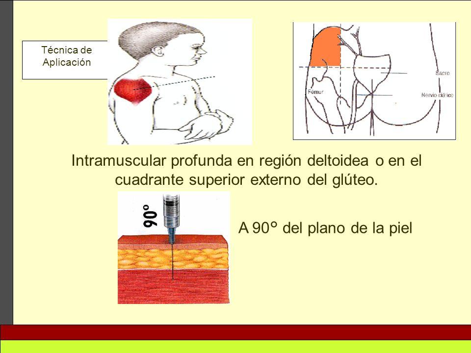 Técnica de Aplicación Intramuscular profunda en región deltoidea o en el cuadrante superior externo del glúteo. A 90° del plano de la piel