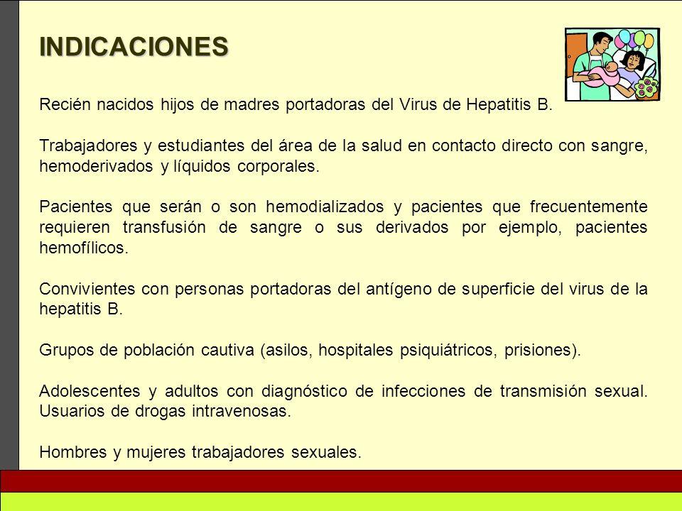 INDICACIONES Recién nacidos hijos de madres portadoras del Virus de Hepatitis B. Trabajadores y estudiantes del área de la salud en contacto directo c