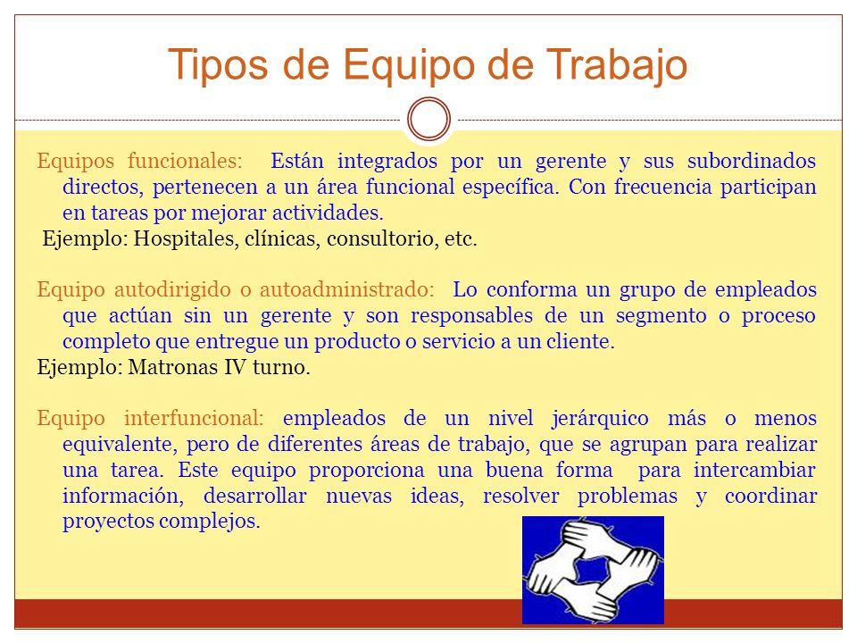 Tipos de Equipo de Trabajo Equipos funcionales: Están integrados por un gerente y sus subordinados directos, pertenecen a un área funcional específica