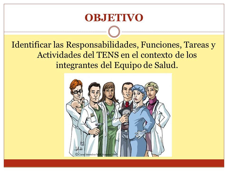 OBJETIVO Identificar las Responsabilidades, Funciones, Tareas y Actividades del TENS en el contexto de los integrantes del Equipo de Salud.