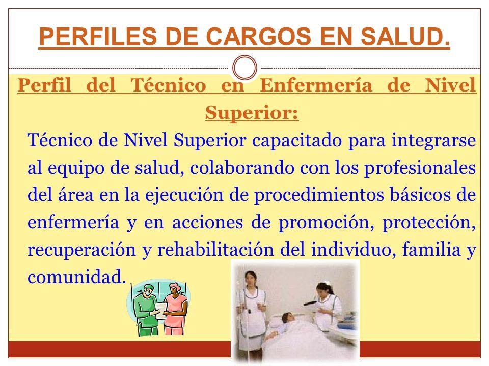 PERFILES DE CARGOS EN SALUD. Perfil del Técnico en Enfermería de Nivel Superior: Técnico de Nivel Superior capacitado para integrarse al equipo de sal