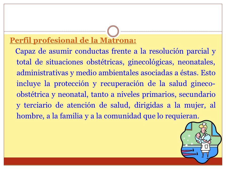 Perfil profesional de la Matrona: Capaz de asumir conductas frente a la resolución parcial y total de situaciones obstétricas, ginecológicas, neonatal