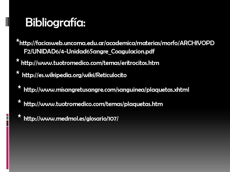 Bibliografía: * http://faciasweb.uncoma.edu.ar/academica/materias/morfo/ARCHIVOPD F2/UNIDAD6/4-Unidad6Sangre_Coagulacion.pdf * http://www.tuotromedico