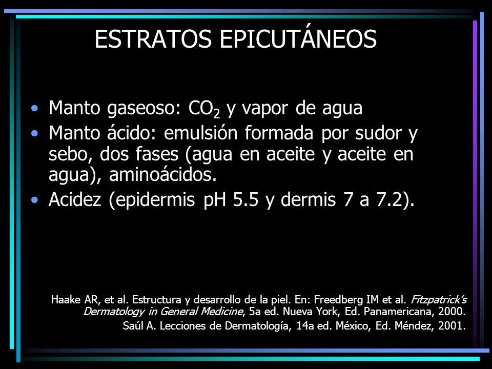 ESTRATOS EPICUTÁNEOS Manto gaseoso: CO 2 y vapor de agua Manto ácido: emulsión formada por sudor y sebo, dos fases (agua en aceite y aceite en agua),
