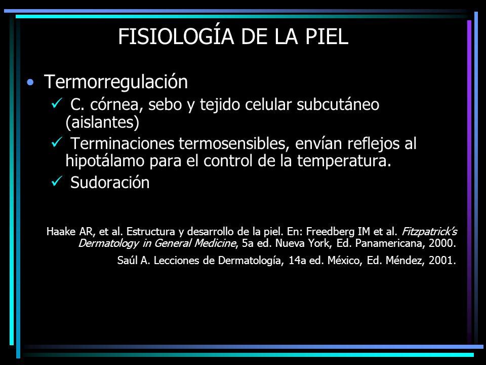 FISIOLOGÍA DE LA PIEL Termorregulación C. córnea, sebo y tejido celular subcutáneo (aislantes) Terminaciones termosensibles, envían reflejos al hipotá
