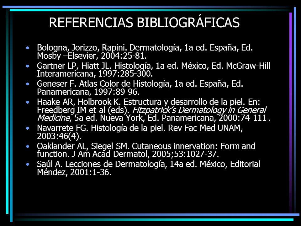 REFERENCIAS BIBLIOGRÁFICAS Bologna, Jorizzo, Rapini. Dermatología, 1a ed. España, Ed. Mosby –Elsevier, 2004:25-81. Gartner LP, Hiatt JL. Histología, 1