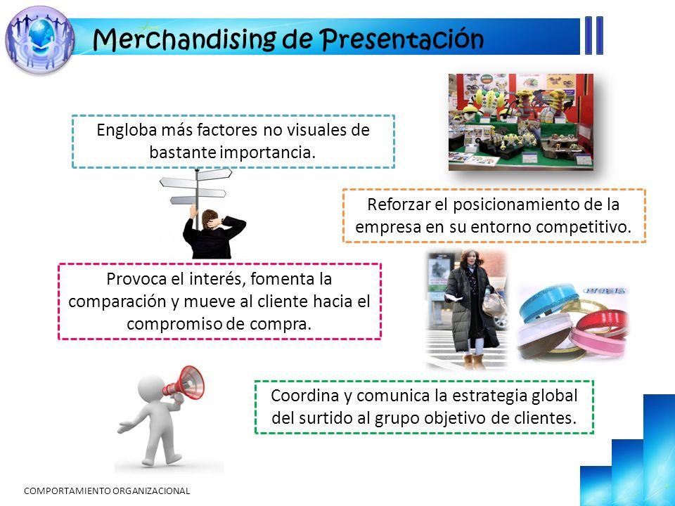 COMPORTAMIENTO ORGANIZACIONAL Merchandising de Presentación Engloba más factores no visuales de bastante importancia. Reforzar el posicionamiento de l