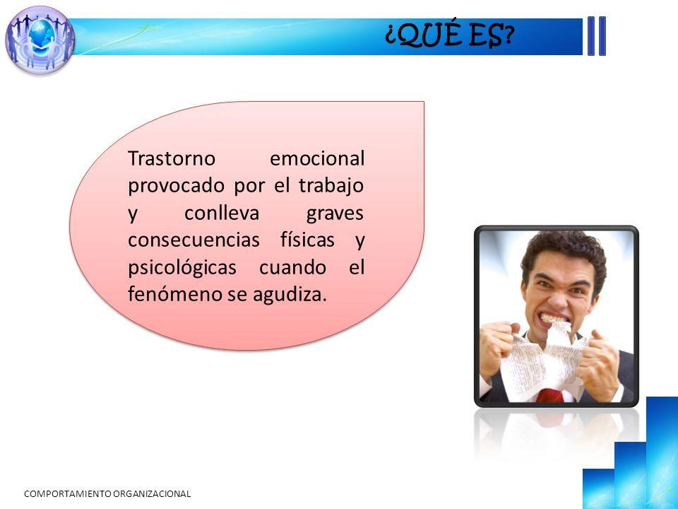 Trastorno emocional provocado por el trabajo y conlleva graves consecuencias físicas y psicológicas cuando el fenómeno se agudiza. ¿QUÉ ES?