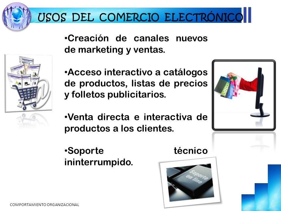 USOS DEL COMERCIO ELECTRÓNICO Creación de canales nuevos de marketing y ventas. Acceso interactivo a catálogos de productos, listas de precios y folle