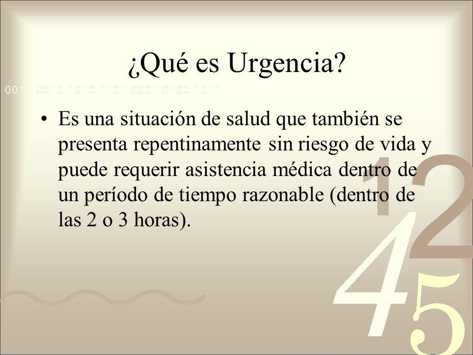 ¿Qué es una Emergencia? Es la situación de salud que se presenta repentinamente, requiere inmediato tratamiento o atención y lleva implícito una alta