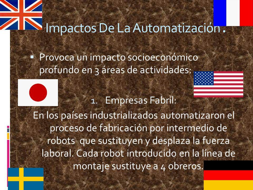 Impactos De La Automatización. Provoca un impacto socioeconómico profundo en 3 áreas de actividades: 1. Empresas Fabril: En los países industrializado