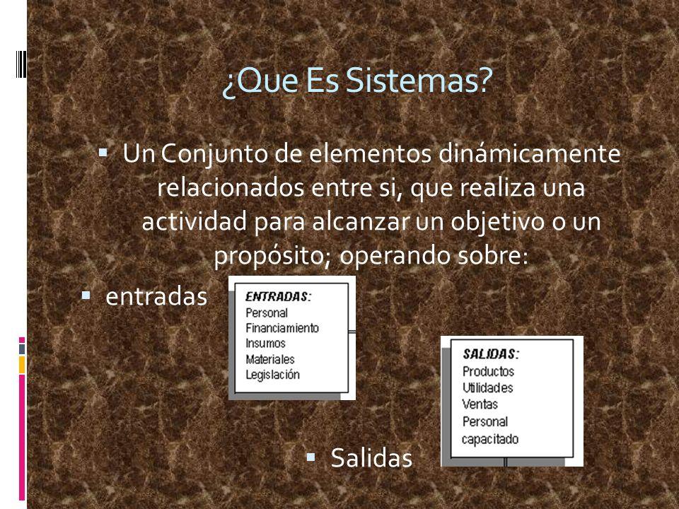 ¿Que Es Sistemas? Un Conjunto de elementos dinámicamente relacionados entre si, que realiza una actividad para alcanzar un objetivo o un propósito; op