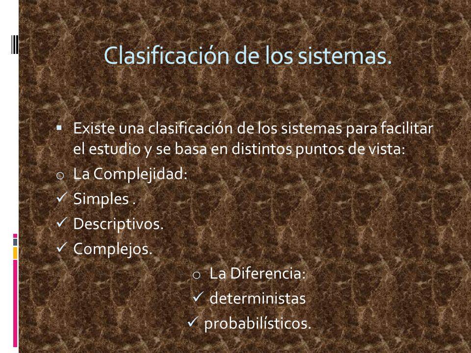 Clasificación de los sistemas. Existe una clasificación de los sistemas para facilitar el estudio y se basa en distintos puntos de vista: o La Complej