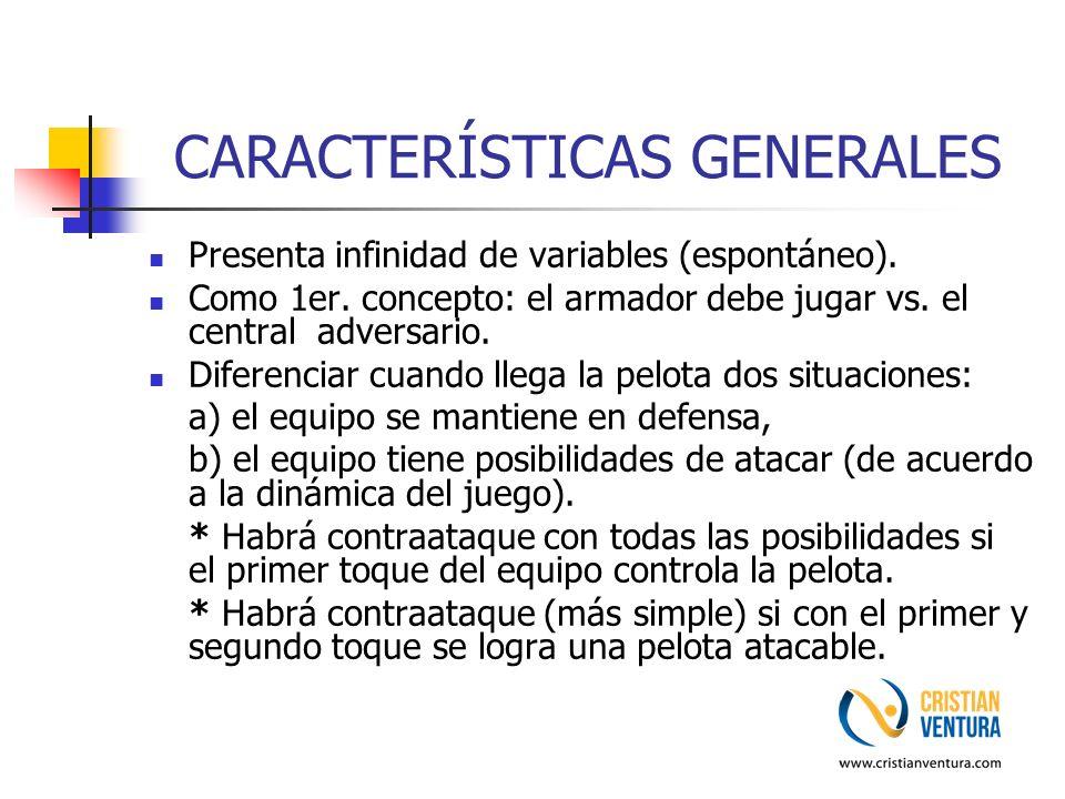 CARACTERÍSTICAS GENERALES Presenta infinidad de variables (espontáneo). Como 1er. concepto: el armador debe jugar vs. el central adversario. Diferenci