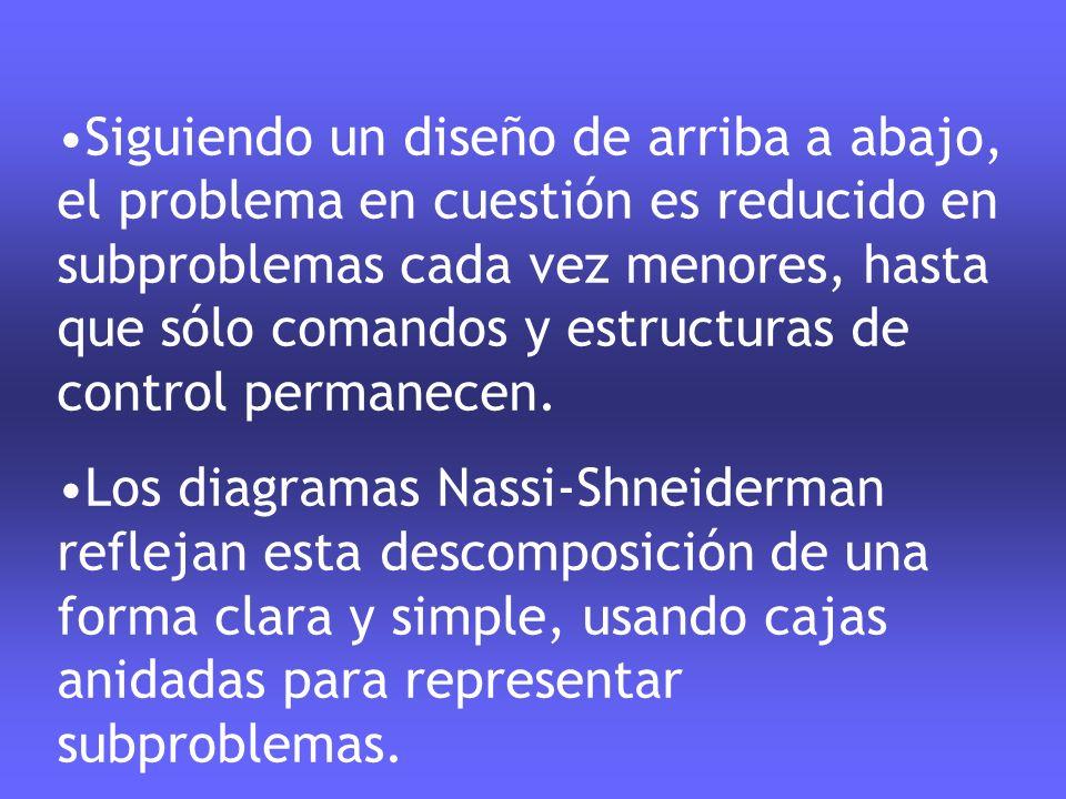Siguiendo un diseño de arriba a abajo, el problema en cuestión es reducido en subproblemas cada vez menores, hasta que sólo comandos y estructuras de