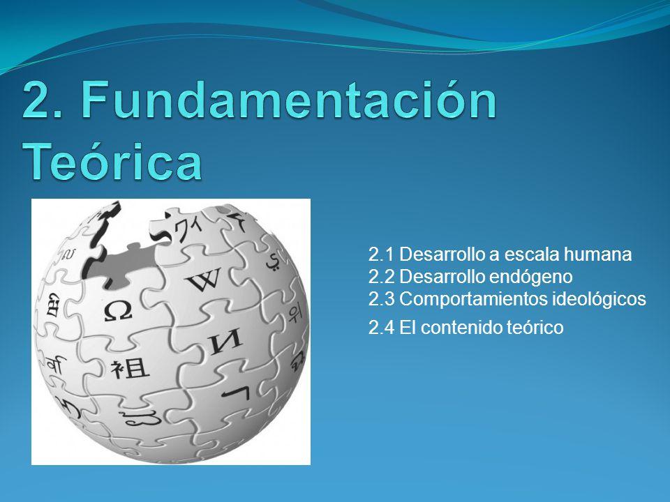 2.1 Desarrollo a escala humana 2.2 Desarrollo endógeno 2.3 Comportamientos ideológicos 2.4 El contenido teórico