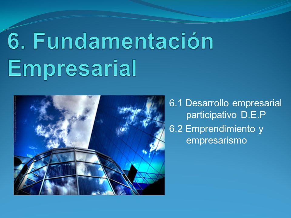 6.1 Desarrollo empresarial participativo D.E.P 6.2 Emprendimiento y empresarismo