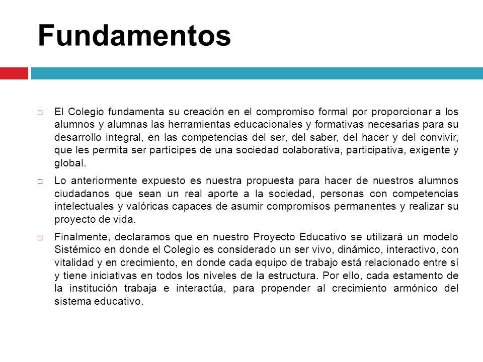 Fundamentos El Colegio fundamenta su creación en el compromiso formal por proporcionar a los alumnos y alumnas las herramientas educacionales y format