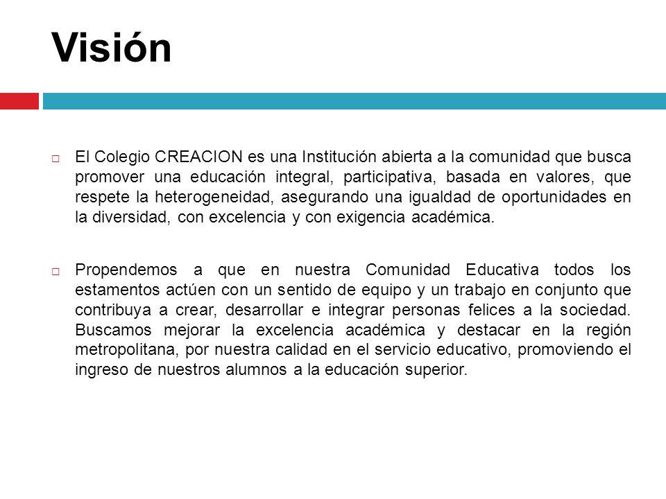 Visión El Colegio CREACION es una Institución abierta a la comunidad que busca promover una educación integral, participativa, basada en valores, que
