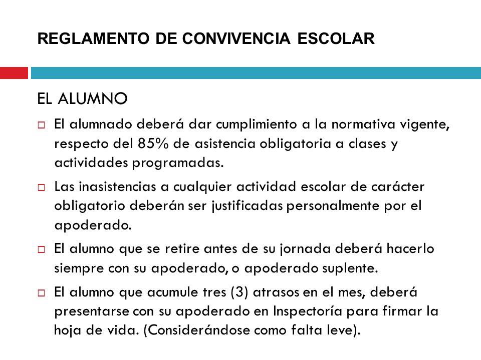 REGLAMENTO DE CONVIVENCIA ESCOLAR EL ALUMNO El alumnado deberá dar cumplimiento a la normativa vigente, respecto del 85% de asistencia obligatoria a c