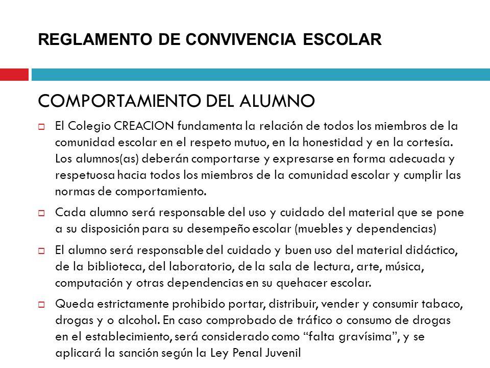 REGLAMENTO DE CONVIVENCIA ESCOLAR COMPORTAMIENTO DEL ALUMNO El Colegio CREACION fundamenta la relación de todos los miembros de la comunidad escolar e