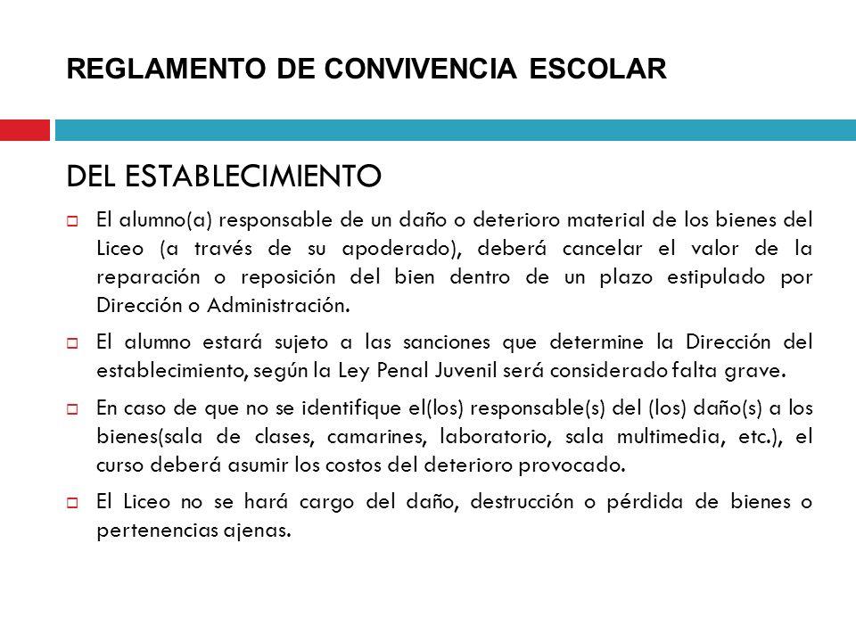 DEL ESTABLECIMIENTO El alumno(a) responsable de un daño o deterioro material de los bienes del Liceo (a través de su apoderado), deberá cancelar el va