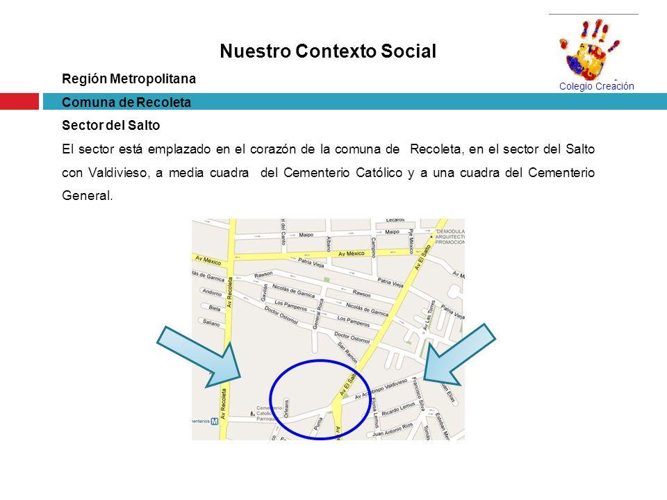 Nuestro Contexto Social Región Metropolitana Comuna de Recoleta Sector del Salto El sector está emplazado en el corazón de la comuna de Recoleta, en e