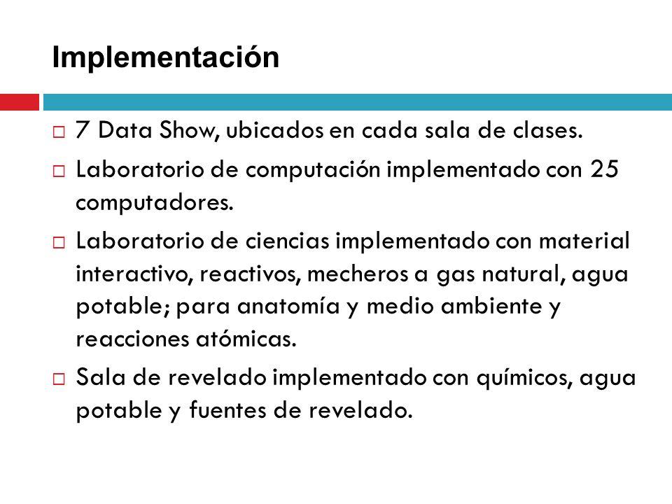 Implementación 7 Data Show, ubicados en cada sala de clases. Laboratorio de computación implementado con 25 computadores. Laboratorio de ciencias impl