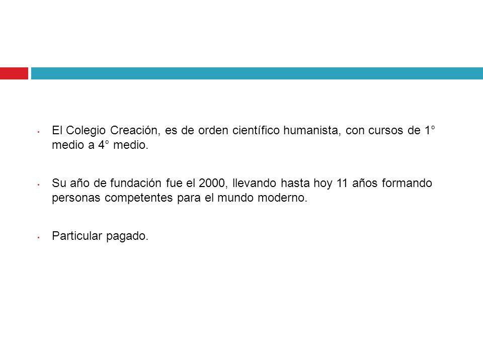 El Colegio Creación, es de orden científico humanista, con cursos de 1° medio a 4° medio. Su año de fundación fue el 2000, llevando hasta hoy 11 años