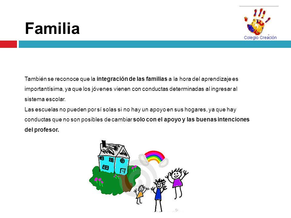 Familia También se reconoce que la integración de las familias a la hora del aprendizaje es importantísima, ya que los jóvenes vienen con conductas de