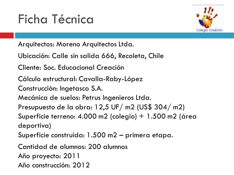 Ficha Técnica Arquitectos: Moreno Arquitectos Ltda. Ubicación: Calle sin salida 666, Recoleta, Chile Cliente: Soc. Educacional Creación Cálculo estruc