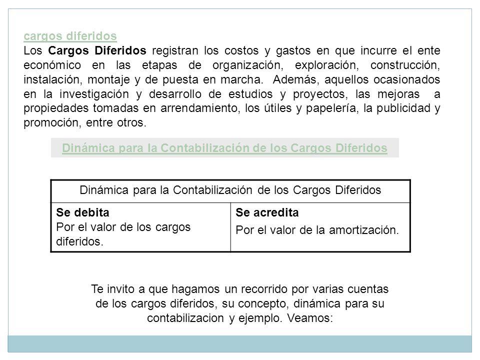 cargos diferidos Los Cargos Diferidos registran los costos y gastos en que incurre el ente económico en las etapas de organización, exploración, const