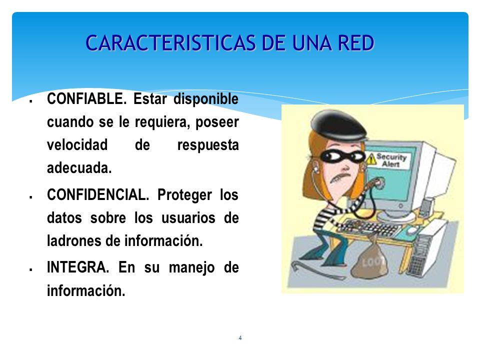 4 CARACTERISTICAS DE UNA RED CONFIABLE. Estar disponible cuando se le requiera, poseer velocidad de respuesta adecuada. CONFIDENCIAL. Proteger los dat