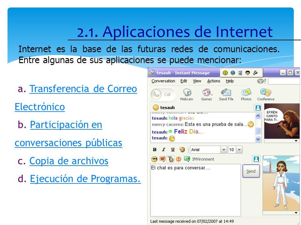 2.1. Aplicaciones de Internet 9 Internet es la base de las futuras redes de comunicaciones. Entre algunas de sus aplicaciones se puede mencionar: a. T