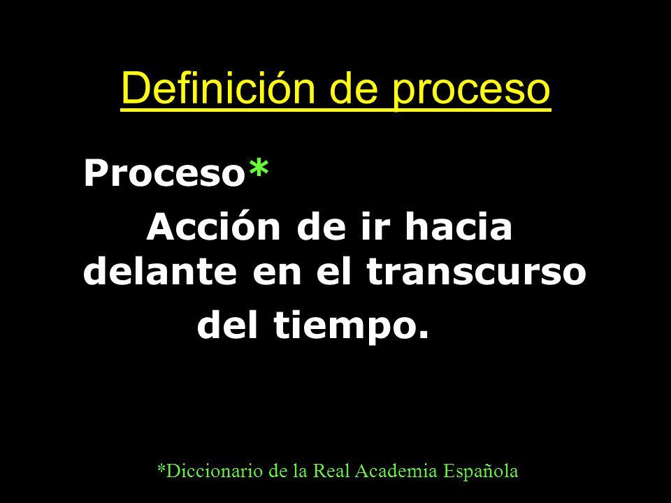 Definición de proceso Proceso* Acción de ir hacia delante en el transcurso del tiempo. *Diccionario de la Real Academia Española