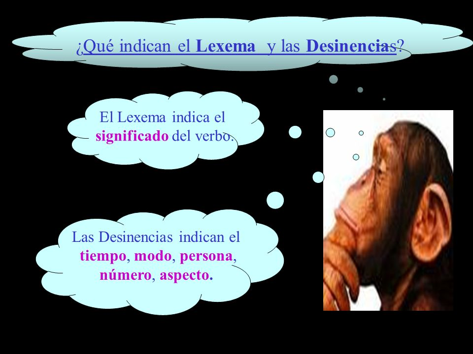 ¿Qué indican el Lexema y las Desinencias? El Lexema indica el significado del verbo. Las Desinencias indican el tiempo, modo, persona, número, aspecto