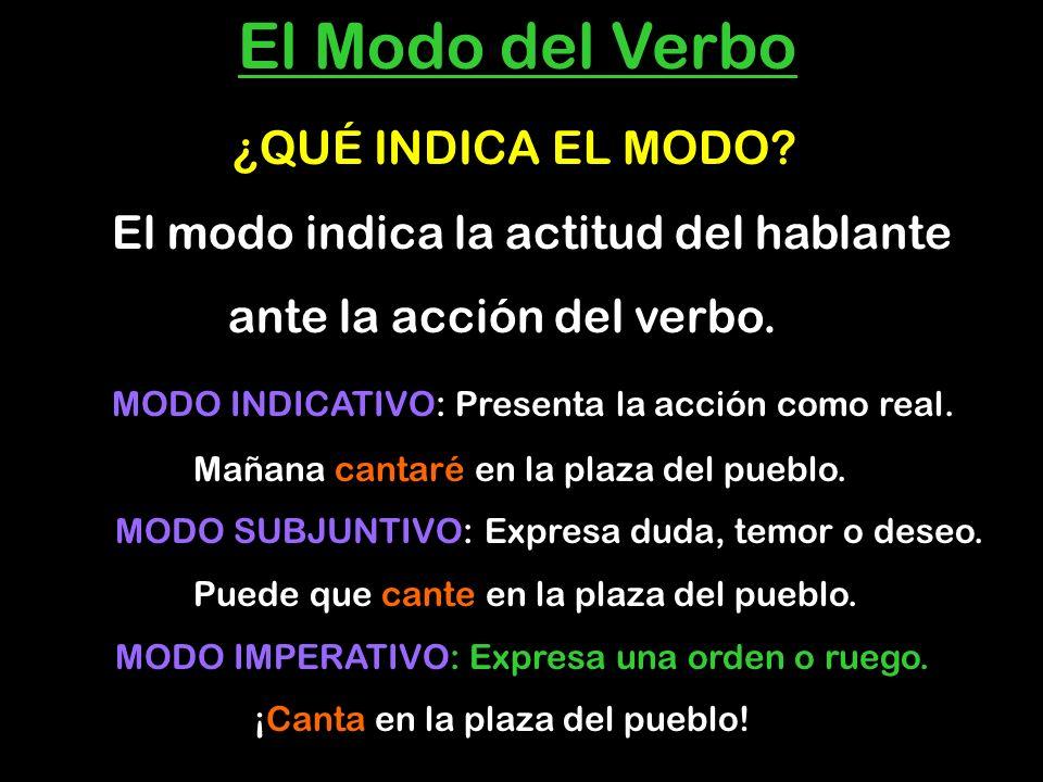 E El Modo del Verbo ¿QUÉ INDICA EL MODO? El modo indica la actitud del hablante ante la acción del verbo. MODO INDICATIVO: Presenta la acción como rea