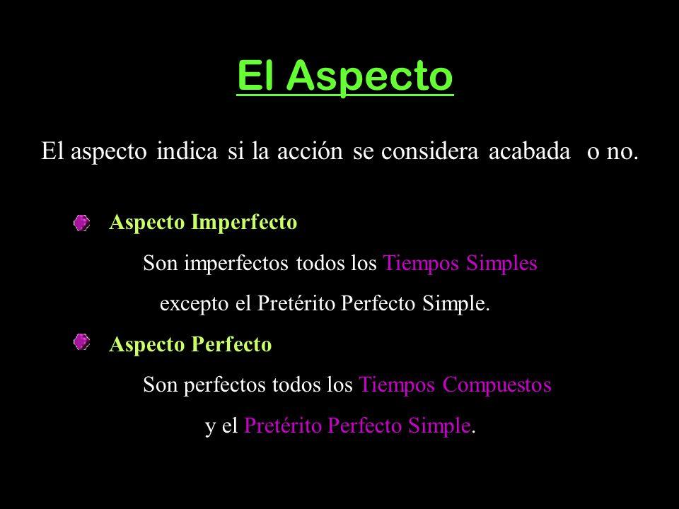 El Aspecto El aspecto indica si la acción se considera acabada o no. Aspecto Imperfecto Son imperfectos todos los Tiempos Simples excepto el Pretérito