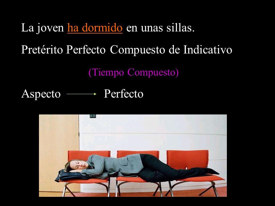La joven ha dormido en unas sillas. Pretérito Perfecto Compuesto de Indicativo (Tiempo Compuesto) Aspecto Perfecto