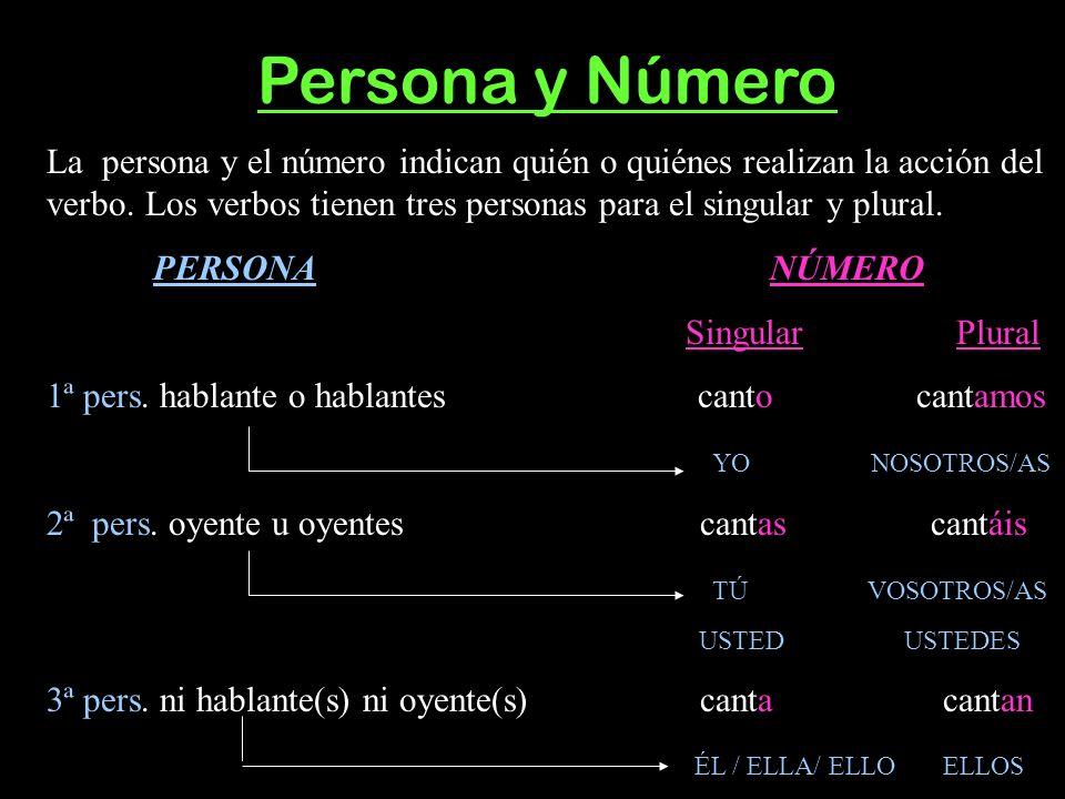 PER Persona y Número La persona y el número indican quién o quiénes realizan la acción del verbo. Los verbos tienen tres personas para el singular y p