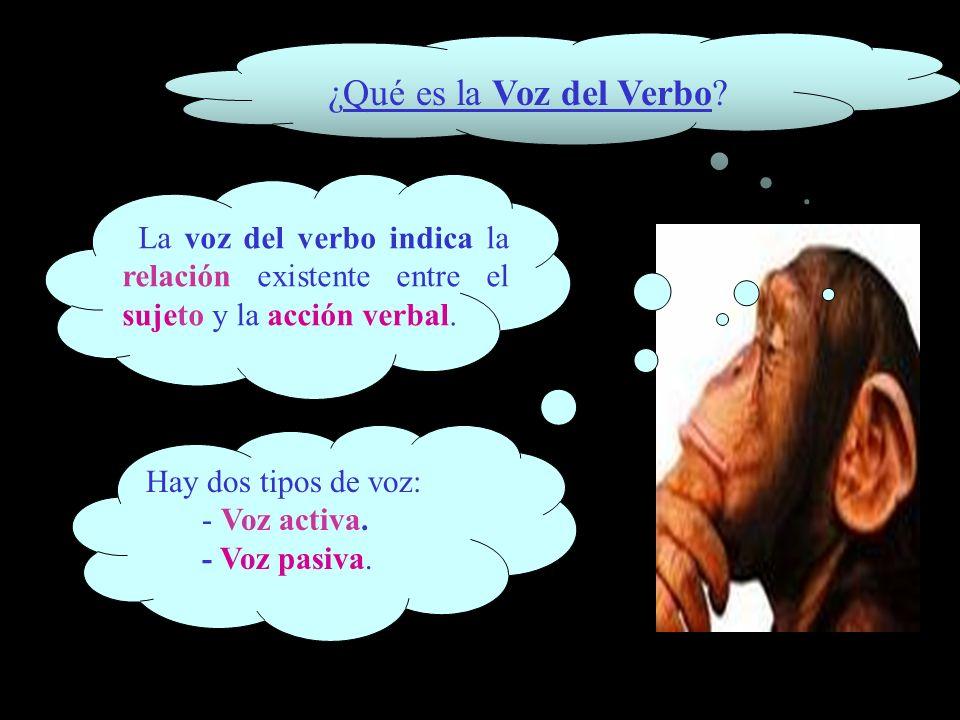 ¿Qué es la Voz del Verbo? La voz del verbo indica la relación existente entre el sujeto y la acción verbal. Hay dos tipos de voz: - Voz activa. - Voz